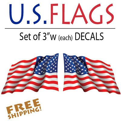 "American Flag Waving stickers-Pair of die-cut decal 3"" military USA US VINYL"