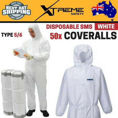 50x Disposable SMS White Coveralls Type 5/6 Polypropylene Lightweight