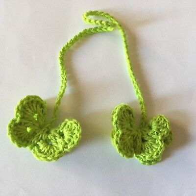 Umbilical Cord Tie, 3D Butterfly, Lime Green, Cotton, Vegan, Non Gender, Birth