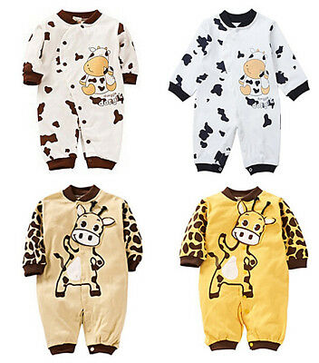 Infant Newborn Baby Boy Girl Cotton Romper Jumpsuit Outfits Long Sleeve Clothes