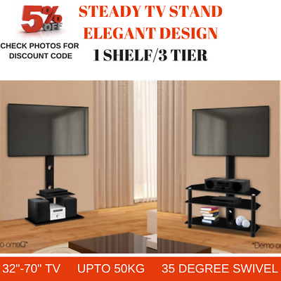 Floor Tv Stand Swivel Mount Bracket Shelf 3 Tier 32 To 70 Inch Led