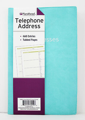 PlanAhead Large Telephone Address Book Tabbed Pages Smooth Cover Aqua Blue 7.6in