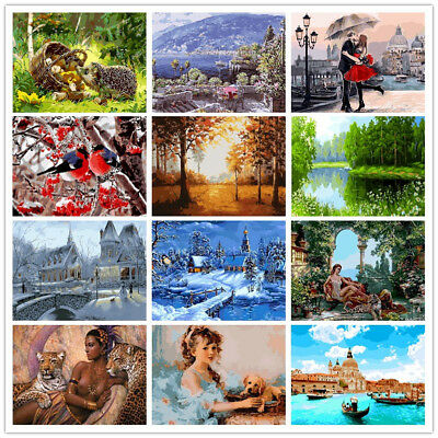 DIY Oil Painting Animals Scenery Paint By Numbers Canvas Home Wall Art Decors AU