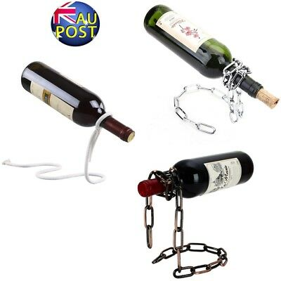 Magic Illusion Floating Wine Bottle Holder Rope Lasso Chain Wine Rack Novelty Au