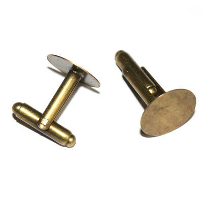 One pair of bronze tone copper cufflink blanks, 15mm round pads