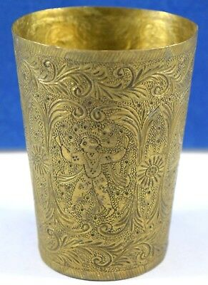 Very Nice hand engraved design figurative brass cup indian decorative. G66-296
