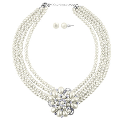 Lux Accessories Faux Pearl Floral Flower Multi Row Pave Statement Necklace Matc
