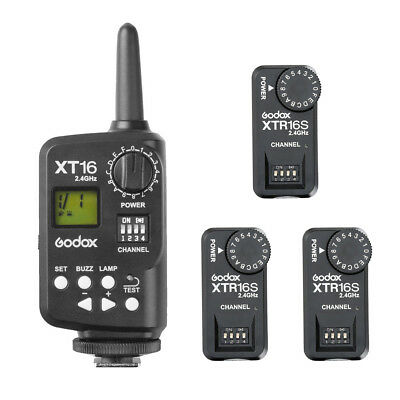 Godox XT-16S 2.4G Wireless Remote Control Strobe Flash Trigger + 3X Receiver