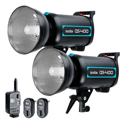 2X Godox QS-400 QS400 400W Studio Flash Strobe Light Lamp w/ FT-16 Trigger 220V