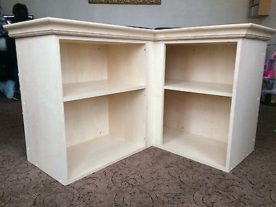 Large beech coloured wall mounted corner shelves with crown moulding TWC01296