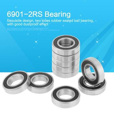 10Pcs 6901-2RS Rubber Sealed Deep Groove Steel Ball Bearing 12x24x6mm