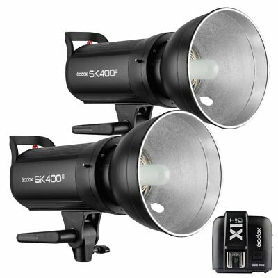 2X Godox SK400II 400W 2.4G Flash Strobe Light + X1T-F Transmitter for Fuji 220V
