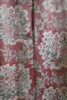 1940's Vintage Fabric Celia Birtwell Style Floral Satin Finish Pink Grey White