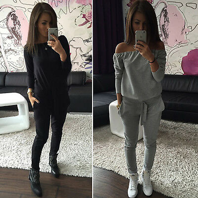 Women's Off Shoulder Long Sleeve Tracksuit Casual Suit Sweatshirt Sleepwear Set