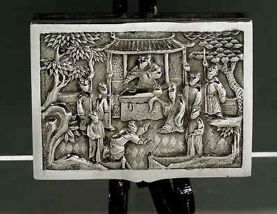 """Chinese Export Silver Box    c1890 Wang Hing     """" TAX COLLECTOR HOLDING COURT """""""