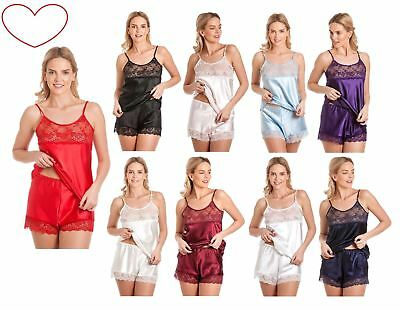 Satin Cami Set ladies womens Lace Top French Knickers Shorts Pyjama PJ Lingerie