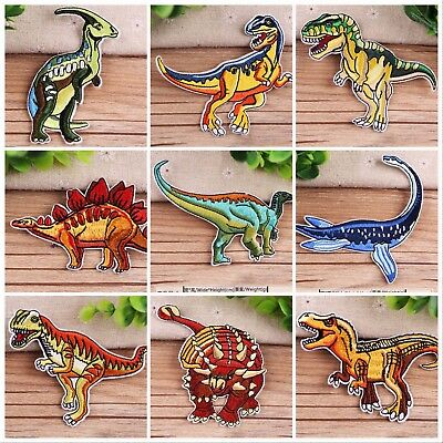 Dinosaur Embroidery Patches Sew On Iron On Patch Flowers Badge Fabric Applique
