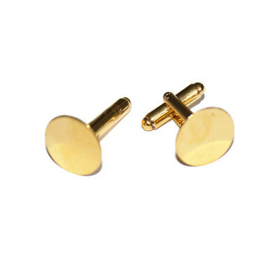 One pair of gold tone copper cufflink blanks, 15mm round pads