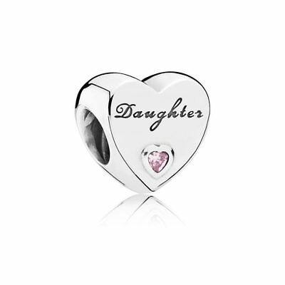 New Genuine Authentic Pandora Sterling Silver Daughter Heart Charm 791726PCZ