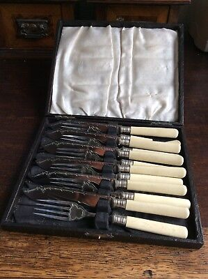Stainless Nickel Fish Knives And Forks With Faux Bone Handles