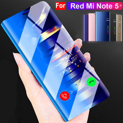 Flip Mirror Wallet Cover for Xiaomi A1/6X Clear View Case for Redmi Note5/5 Plus