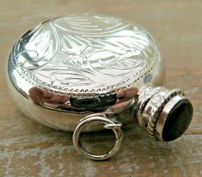 Beautiful Engraved Sterling Silver & Onyx Chatelaine Scent Perfume Snuff Bottle