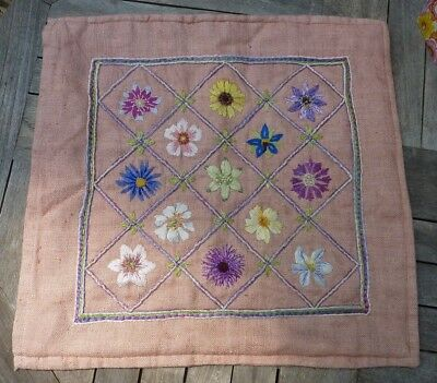Vintage Pink Hand Embroidered needlepoint floral flowers lined cushion cover VGC