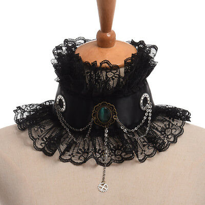 Vintage Gothic Victorian Neck Ruff Party Cosplay Gem Gear Chain Ruffled Collar