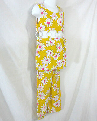 Yellow and White Daisy Girls Bell Bottom Pants & Top Vintage 1960s Flower Power
