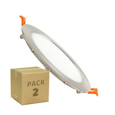 (Pack 2) Placa LED Circular SuperSlim LDD Silver 12W Downlight LED Blanco