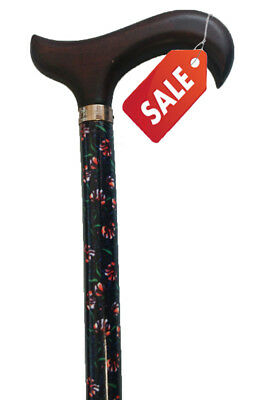 SALE Wooden Derby Handle Floral Patterned with Ferrule Walking Stick Cane