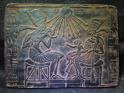 EGYPTIAN ARTIFACT ANTIQUITIES Akhenaten And Family Stela Relief 1353-1336 BCE