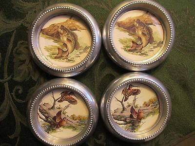 SET OF 4 1950s Vintage SWENEY Fishing Wildlife Art Coasters- ALUMINUM
