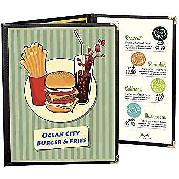 Menu Covers 25 Black Triple Panel Foldout 6-View 8.5X14 Double-Stitched