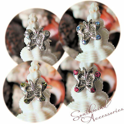 Butterfly Toe Ring On A Stretch Illusion Band Your Choice In Color Of Crystals