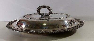 Vintage Silver plated Serving dish with Lid Old English Reproduction W.M. Mounts