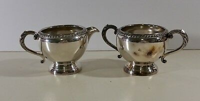 Vintage Wm. A. Rogers Silver Plated Copper B M Mts 3136 Creamer and Sugar bowl