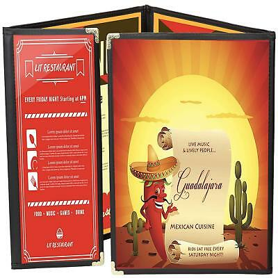 Menu Covers 25 Black 8-View Triple Panel Foldout + One-Half 8.5X11 & 4.25X11