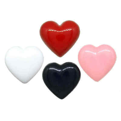 HEART SHAPED SHANK BUTTONS, 12mm to 24mm Black, White, Red, Pink