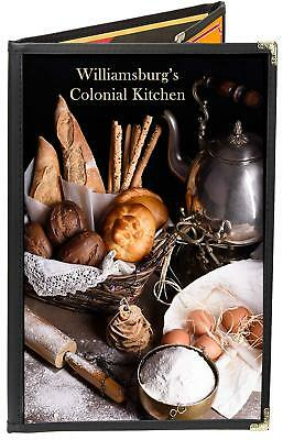 6-View Double Panel Foldout + One-Half 8.5X14 & 4.25X14 Cafe Menu Covers Black