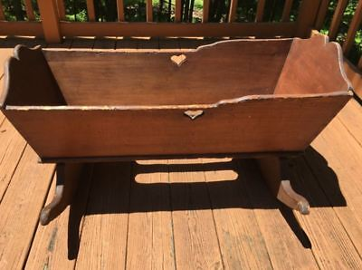 Large Primitive Wooden Baby Cradle Circa late 1800's early 1900's