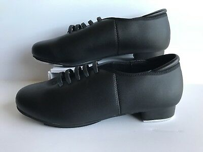 THEATRICALS NEW Black Leather T9500 Lace Up Tap Dance Shoes Unisex size 10.5
