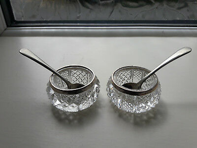 Edwardian Pair Of Solid Silver & Cut Glass Salts 1908