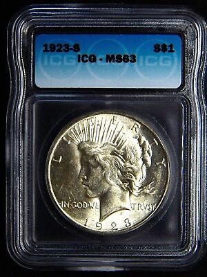 1923-S Peace Silver Dollar- Icg Ms63 Gem Bright Uncirculated Coin.
