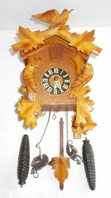 Vintage Wood Woodpecker Birds Cuckoo Clock Made in Germany For Parts or Repair