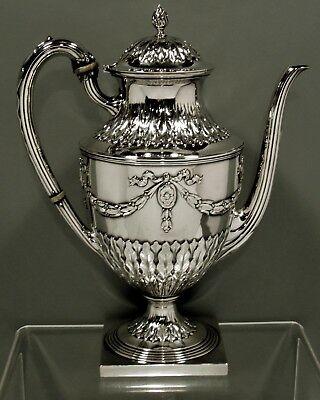 "American Sterling Silver Coffee Pot       c1920   "" HAND DECORATED ""    31 OZ."