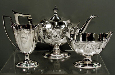 "Gorham Sterling Tea Set       1915 "" PLYMOUTH   +  HAND DECORATED """