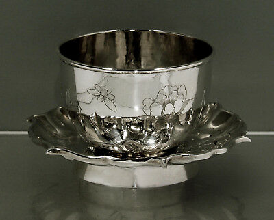 """Chinese Export Silver Tea Cup & Saucer     SIGNED    """"HAND DECORATED"""""""