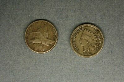 Flying Eagle Cent   1857  / Indian Head Penny  1962   ..................415