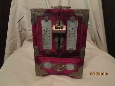 Vintage Oriental Jewelry Box Carved Jade Doors and Etched Brass Hinges w/Lock